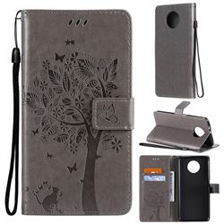 Embossing Butterfly Tree Leather Wallet Case for Xiaomi Redmi Note 9 5G - Grey