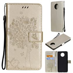 Embossing Butterfly Tree Leather Wallet Case for Xiaomi Redmi Note 9 5G - Champagne