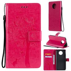 Embossing Butterfly Tree Leather Wallet Case for Xiaomi Redmi Note 9 5G - Rose