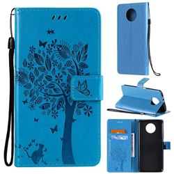 Embossing Butterfly Tree Leather Wallet Case for Xiaomi Redmi Note 9 5G - Blue