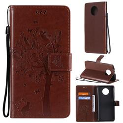 Embossing Butterfly Tree Leather Wallet Case for Xiaomi Redmi Note 9 5G - Coffee