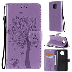 Embossing Butterfly Tree Leather Wallet Case for Xiaomi Redmi Note 9 5G - Violet