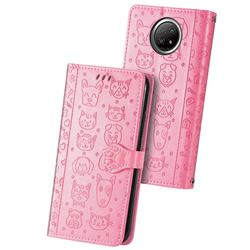 Embossing Dog Paw Kitten and Puppy Leather Wallet Case for Xiaomi Redmi Note 9 5G - Pink