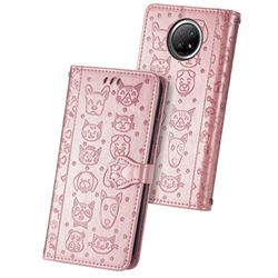 Embossing Dog Paw Kitten and Puppy Leather Wallet Case for Xiaomi Redmi Note 9 5G - Rose Gold