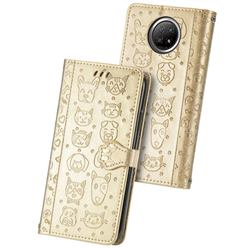 Embossing Dog Paw Kitten and Puppy Leather Wallet Case for Xiaomi Redmi Note 9 5G - Champagne Gold