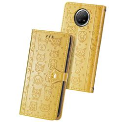 Embossing Dog Paw Kitten and Puppy Leather Wallet Case for Xiaomi Redmi Note 9 5G - Yellow