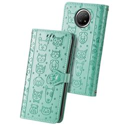 Embossing Dog Paw Kitten and Puppy Leather Wallet Case for Xiaomi Redmi Note 9 5G - Green