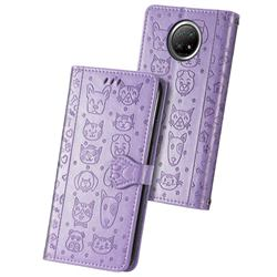 Embossing Dog Paw Kitten and Puppy Leather Wallet Case for Xiaomi Redmi Note 9 5G - Purple