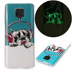 Headphone Puppy Noctilucent Soft TPU Back Cover for Xiaomi Redmi Note 9s / Note9 Pro / Note 9 Pro Max