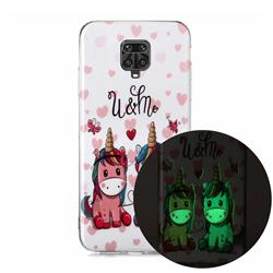Couple Unicorn Noctilucent Soft TPU Back Cover for Xiaomi Redmi Note 9s / Note9 Pro / Note 9 Pro Max