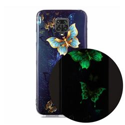 Golden Butterflies Noctilucent Soft TPU Back Cover for Xiaomi Redmi Note 9s / Note9 Pro / Note 9 Pro Max