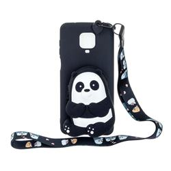 Cute Panda Neck Lanyard Zipper Wallet Silicone Case for Xiaomi Redmi Note 9s / Note9 Pro / Note 9 Pro Max