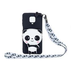 White Panda Neck Lanyard Zipper Wallet Silicone Case for Xiaomi Redmi Note 9s / Note9 Pro / Note 9 Pro Max