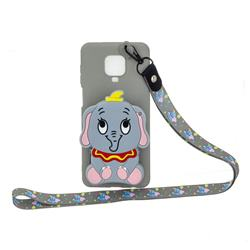 Gray Elephant Neck Lanyard Zipper Wallet Silicone Case for Xiaomi Redmi Note 9s / Note9 Pro / Note 9 Pro Max