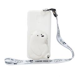 White Polar Bear Neck Lanyard Zipper Wallet Silicone Case for Xiaomi Redmi Note 9s / Note9 Pro / Note 9 Pro Max