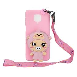 Pink Pig Neck Lanyard Zipper Wallet Silicone Case for Xiaomi Redmi Note 9s / Note9 Pro / Note 9 Pro Max