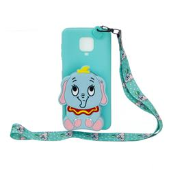 Blue Elephant Neck Lanyard Zipper Wallet Silicone Case for Xiaomi Redmi Note 9s / Note9 Pro / Note 9 Pro Max