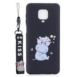 Black Flower Hippo Soft Kiss Candy Hand Strap Silicone Case for Xiaomi Redmi Note 9s / Note9 Pro / Note 9 Pro Max