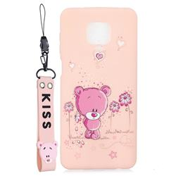 Pink Flower Bear Soft Kiss Candy Hand Strap Silicone Case for Xiaomi Redmi Note 9s / Note9 Pro / Note 9 Pro Max