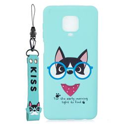 Green Glasses Dog Soft Kiss Candy Hand Strap Silicone Case for Xiaomi Redmi Note 9s / Note9 Pro / Note 9 Pro Max