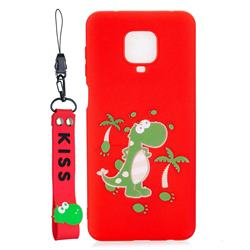 Red Dinosaur Soft Kiss Candy Hand Strap Silicone Case for Xiaomi Redmi Note 9s / Note9 Pro / Note 9 Pro Max