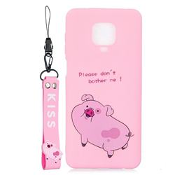 Pink Cute Pig Soft Kiss Candy Hand Strap Silicone Case for Xiaomi Redmi Note 9s / Note9 Pro / Note 9 Pro Max