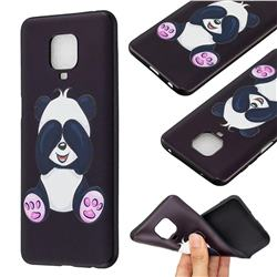 Lovely Panda 3D Embossed Relief Black Soft Back Cover for Xiaomi Redmi Note 9s / Note9 Pro / Note 9 Pro Max