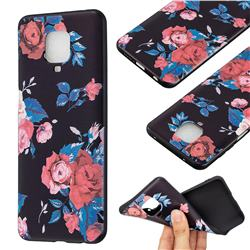 Safflower 3D Embossed Relief Black Soft Back Cover for Xiaomi Redmi Note 9s / Note9 Pro / Note 9 Pro Max