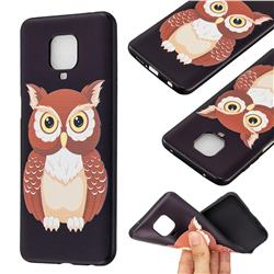 Big Owl 3D Embossed Relief Black Soft Back Cover for Xiaomi Redmi Note 9s / Note9 Pro / Note 9 Pro Max
