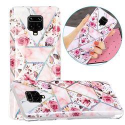 Rose Flower Painted Galvanized Electroplating Soft Phone Case Cover for Xiaomi Redmi Note 9s / Note9 Pro / Note 9 Pro Max
