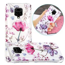 Magnolia Painted Galvanized Electroplating Soft Phone Case Cover for Xiaomi Redmi Note 9s / Note9 Pro / Note 9 Pro Max