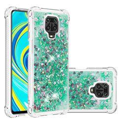Dynamic Liquid Glitter Sand Quicksand TPU Case for Xiaomi Redmi Note 9s / Note9 Pro / Note 9 Pro Max - Green Love Heart