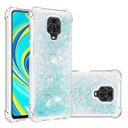 Dynamic Liquid Glitter Sand Quicksand TPU Case for Xiaomi Redmi Note 9s / Note9 Pro / Note 9 Pro Max - Silver Blue Star