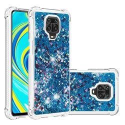 Dynamic Liquid Glitter Sand Quicksand TPU Case for Xiaomi Redmi Note 9s / Note9 Pro / Note 9 Pro Max - Blue Love Heart