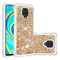 Dynamic Liquid Glitter Sand Quicksand TPU Case for Xiaomi Redmi Note 9s / Note9 Pro / Note 9 Pro Max - Rose Gold Love Heart