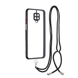 Necklace Cross-body Lanyard Strap Cord Phone Case Cover for Xiaomi Redmi Note 9s / Note9 Pro / Note 9 Pro Max - Black