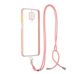 Necklace Cross-body Lanyard Strap Cord Phone Case Cover for Xiaomi Redmi Note 9s / Note9 Pro / Note 9 Pro Max - Pink