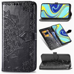 Embossing Imprint Mandala Flower Leather Wallet Case for Xiaomi Redmi Note 9s / Note9 Pro / Note 9 Pro Max - Black