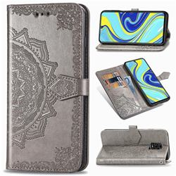 Embossing Imprint Mandala Flower Leather Wallet Case for Xiaomi Redmi Note 9s / Note9 Pro / Note 9 Pro Max - Gray