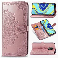 Embossing Imprint Mandala Flower Leather Wallet Case for Xiaomi Redmi Note 9s / Note9 Pro / Note 9 Pro Max - Rose Gold