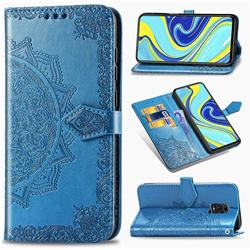 Embossing Imprint Mandala Flower Leather Wallet Case for Xiaomi Redmi Note 9s / Note9 Pro / Note 9 Pro Max - Blue