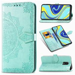 Embossing Imprint Mandala Flower Leather Wallet Case for Xiaomi Redmi Note 9s / Note9 Pro / Note 9 Pro Max - Green