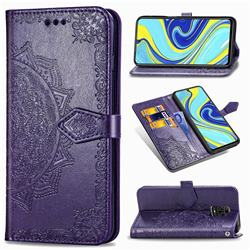 Embossing Imprint Mandala Flower Leather Wallet Case for Xiaomi Redmi Note 9s / Note9 Pro / Note 9 Pro Max - Purple