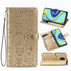 Embossing Dog Paw Kitten and Puppy Leather Wallet Case for Xiaomi Redmi Note 9s / Note9 Pro / Note 9 Pro Max - Champagne Gold