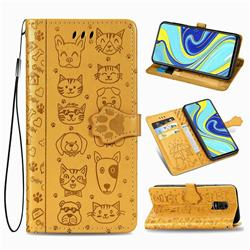 Embossing Dog Paw Kitten and Puppy Leather Wallet Case for Xiaomi Redmi Note 9s / Note9 Pro / Note 9 Pro Max - Yellow