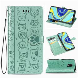 Embossing Dog Paw Kitten and Puppy Leather Wallet Case for Xiaomi Redmi Note 9s / Note9 Pro / Note 9 Pro Max - Green