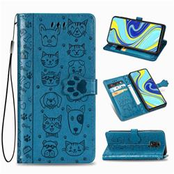 Embossing Dog Paw Kitten and Puppy Leather Wallet Case for Xiaomi Redmi Note 9s / Note9 Pro / Note 9 Pro Max - Blue