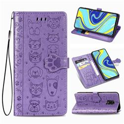Embossing Dog Paw Kitten and Puppy Leather Wallet Case for Xiaomi Redmi Note 9s / Note9 Pro / Note 9 Pro Max - Purple