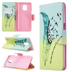 Feather Bird Leather Wallet Case for Xiaomi Redmi Note 9s / Note9 Pro / Note 9 Pro Max