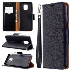 Classic Luxury Litchi Leather Phone Wallet Case for Xiaomi Redmi Note 9s / Note9 Pro / Note 9 Pro Max - Black